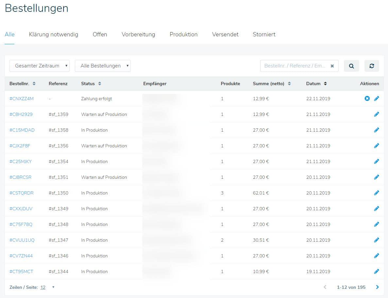 Die Bestellungen über die Shirtigo Cockpit App übersichtlich dargestellt