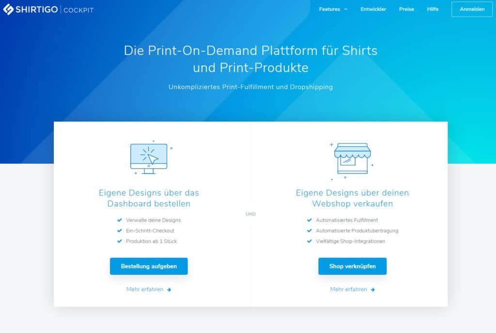 Das Shirtigo Cockpit - die App für dein Print on Demand Business