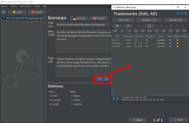 Trademark (TM) Check Markenrechts Check mit Flying Upload
