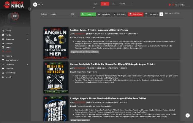 Merch Ninja Suche für Merch by Amazon