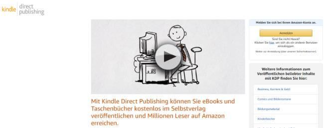 Amazon KDP Registrierung Startseite